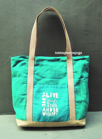 tote bag canvas kombinasi tosca